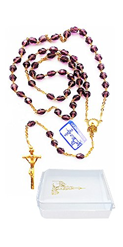 Veritas Polska, Inc. Sterling Silver Rosary with Papal Crucifix and Madonna Center Medallion, 19-1/2