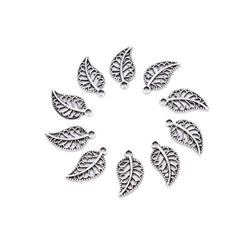50 Pcs Leaf Charms Assorted Tree Leaf Shape Theme Vintage Bronze Alloy Pendants Charms Kits Bracelet Necklace DIY Crafts Crafting Jewelry Making Accessory by Jiabetterniu -