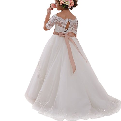 Amazon.com: IMEKIS Flower Girls Lace Tulle First Communion Dress Kids Princess Wedding Bridesmaid Pageant Party Floor Length Ball Gown: Clothing