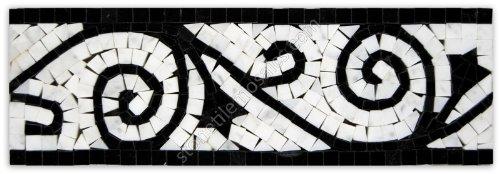Carrara Marble Italian White Bianco Carrera Flower Mosaic Border Tile Polished (Black)