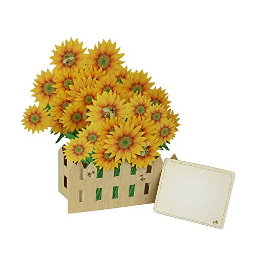 Fusolo 3D Pop Up cards, Sunflower Garden Cards, Birthday Cards, Mom Cards, Greeting Cards (Sunflower)
