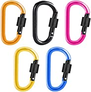 5 PCS D-Ring Carabiners, Climbing Carabiner Clips D-Ring Keychain Hook Clips Heavy Duty Aluminum Alloy Large L
