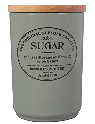 (Large Airtight Sugar Canister in Dove Grey by Henry Watson, Made in England)