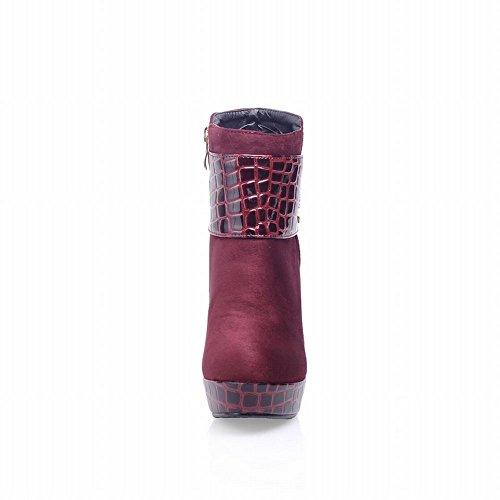 Carolbar Donna Stampa Coccodrillo Cerniera Strass Elegante Eleganza Tacco Alto Stivali Vino Rosso