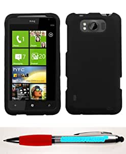 Accessory Factory(TM) Bundle (Phone Case, 2in1 Stylus Point Pen) HTC X310a (TITAN) Black Phone Protector Cover(Rubberized)