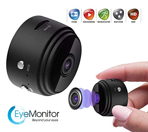 EYE-MONITOR Mini Wireless Hidden Security Surveillance Spy Camera, Night Vision 1080P Full HD, WiFi, IP, Digital Video Recorder for iOS iPhone and Android (Black)