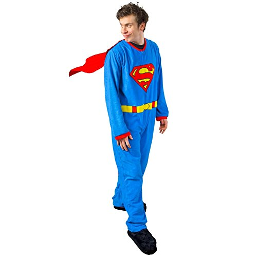 Old Glory Superman - Mens Costume Union Suit With Cape Small Blue