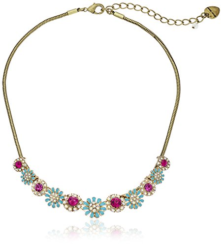 "Boho-Chic Vacation & Fall Looks - Standard & Plus Size Styless - Betsey Johnson ""Boho Betsey"" Mixed Flower and Stone Necklace, 18.5"" + 3.5"" Extender"