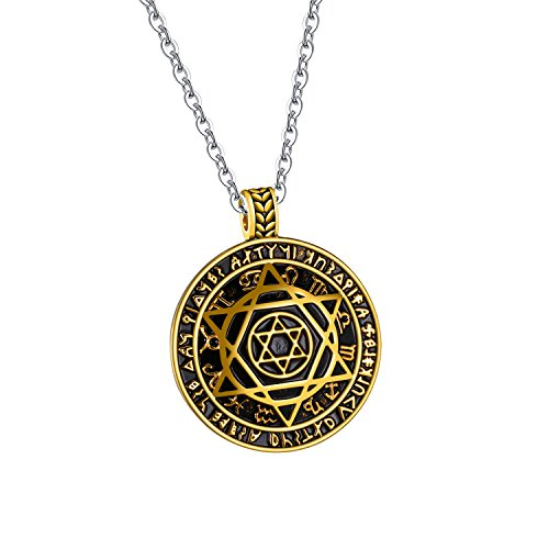 TENGYI Silver Gold-Tone Jewish Stainless Steel Star of David Pendant Chain Necklace for Men 24 Inch (Gold + 22