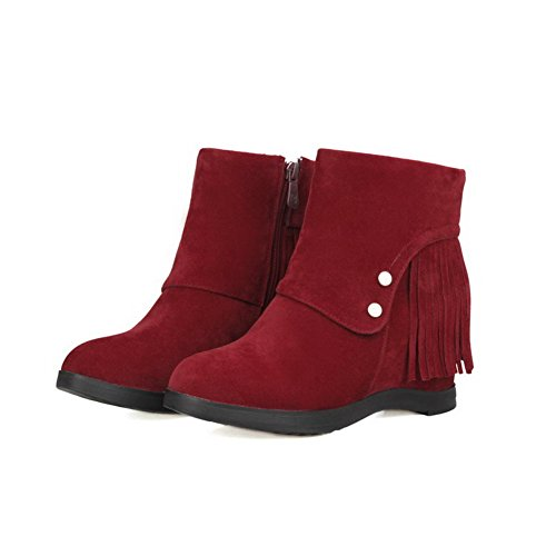 Solid AgooLar Women's Toe Low Frosted Heels High Top Red Boots Round Closed nfXqU