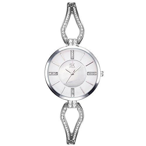 SK Women's Quartz Watches Rhinestone Bracelet Stainless Steel Jewelry Watches Analog Display Female Wristwatches - Steel Quartz Stainless Watch Bracelet