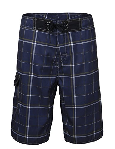 Nonwe Men's Beachwear Quick Dry Plaid Pattern Swim Beach Shorts with Mesh Lining Deep Blue 36
