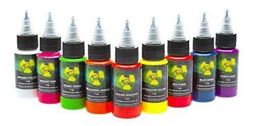 Millennium Mom's Nuclear UV Blacklight Tattoo Ink - 9 Color Set - 1 oz (Set Tattoo Ink Glow)
