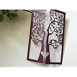 Wine Red Burgundy Tree Laser Cut Wedding Invitations,Wedding Invite,Lace Wedding Invite,Tree Invitation,Love Bird Laser Cut Wedding Invitation,Invitation Cards,50pcs