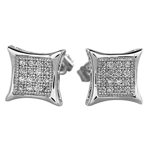 Niv's Bling – Rhodium Plated Cubic Zirconia Earrings – Iced Out Kite Square Stud Micropave CZ Earring Pair, For Men or Women by Niv's Bling