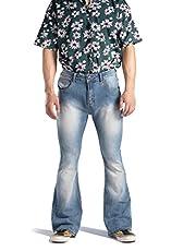 Pantalones de mezclilla acampanados elásticos para hombre, ajuste cómodo, acampanados de los años 60, 70, Vintage Pierna Jeans