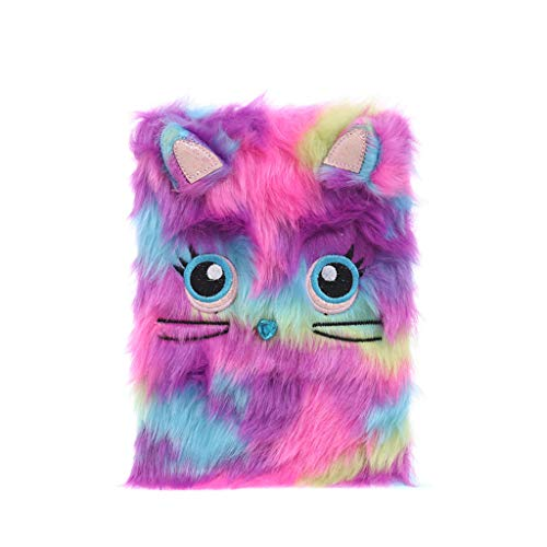Fine Fluffy Plush Cartoon Cute Diary Book Notebook Notepad Memo Paper Cute Journal Travel Notebooks Wide Ruled for Students (D) (Book Notepad)