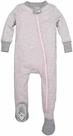 Burt's Bees Baby - Baby Girls' Sleeper Pajamas, Zip Front Non-Slip Footed Sleeper PJs, 100% Organic Cotton