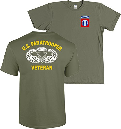82nd Airborne Division US Paratrooper Army Veteran Shirt (Military Green, ()