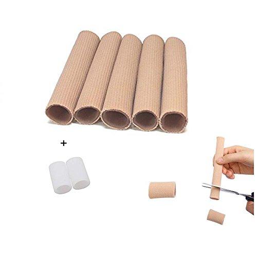 Briviee Toe Gel Tubes-Fabric Sleeve Gel Tube Protector,Toe Straightener, Separator, Spreader, Corrector,Soften and Smooth Skin-5 Tube Sleeve ()