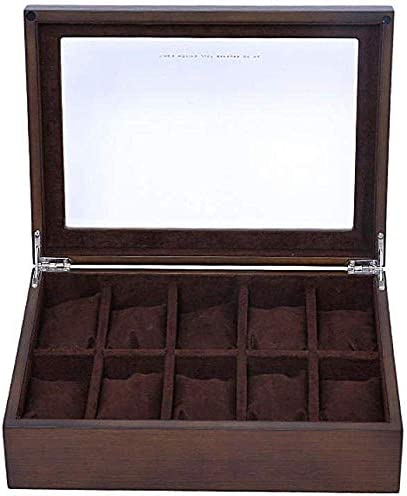 MU Scatole di gioielli per orologi in legno Hombre Mujer Regalo Viaje Scatola di immagazzinaggio per tetto apribile in vetro marrone scuro 10 Vetro 30 * 22 * 8.5 cm