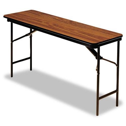 Iceberg ICE55275 Premium Wood Laminate Folding Table with Brown Steel Legs, 18'' Length x 60'' Width x 29'' Height, Oak by Iceberg