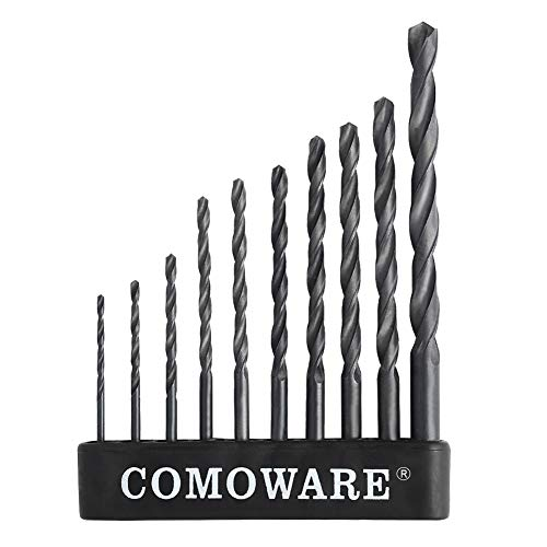 COMOWARE Twist Drill Bit Set- High Speed Steel Jobber Drill Bits, General Purpose, Black Oxide for Wood Plastic Alloys 10 Pcs, 1/16