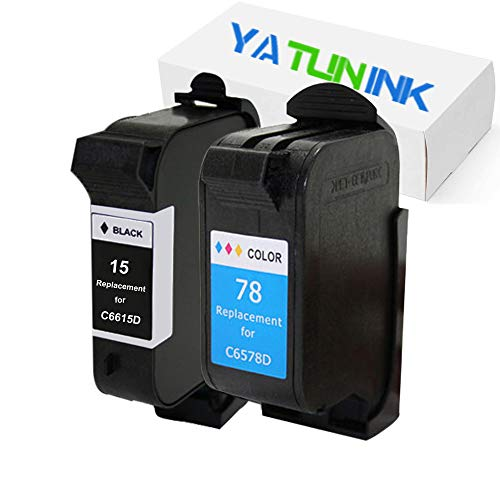 YATUNINK Remanufactured Ink Cartridge Replacement for HP 15 78 Ink Cartridges 15 78 (C6615D/C6578A) PSC 750 xi 950 950xi Printer (Black,Color - 950 Fax