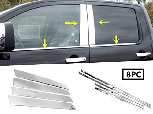 eLoveQ Stainless Steel Chrome Window Sill+Pillar Post FOR 2004-2015 Nissan Titan Crew Cab Only
