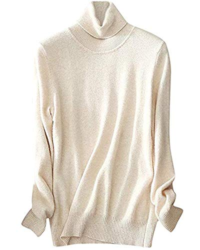 Cashmere Beige Sweater (Women's Cashmere Turtleneck Long Sleeves Lightweight Pullover Sweater,Beige, Tag M = US S(4-6))