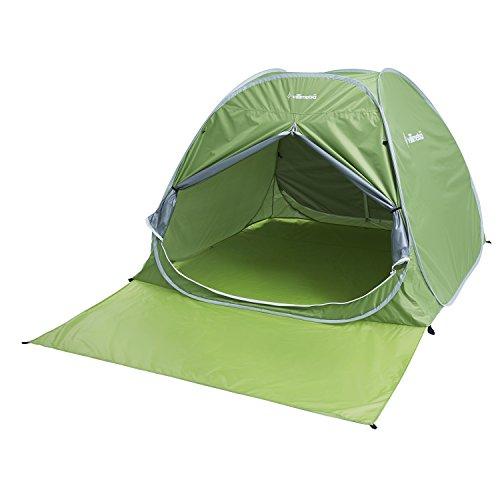 出口あごモートVillimetsa テント ポップアップテント ワンタッチ 簡単組立 軽量 収納バッグ付き 遮熱効果 UVカット96.5% 耐水 2~3人用 グリーン