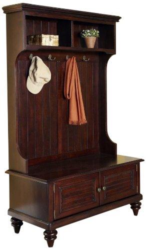 Hall Tree With Storage Bench Shoe Coat Rack Antique Espresso Mudroom Entryway Ebay