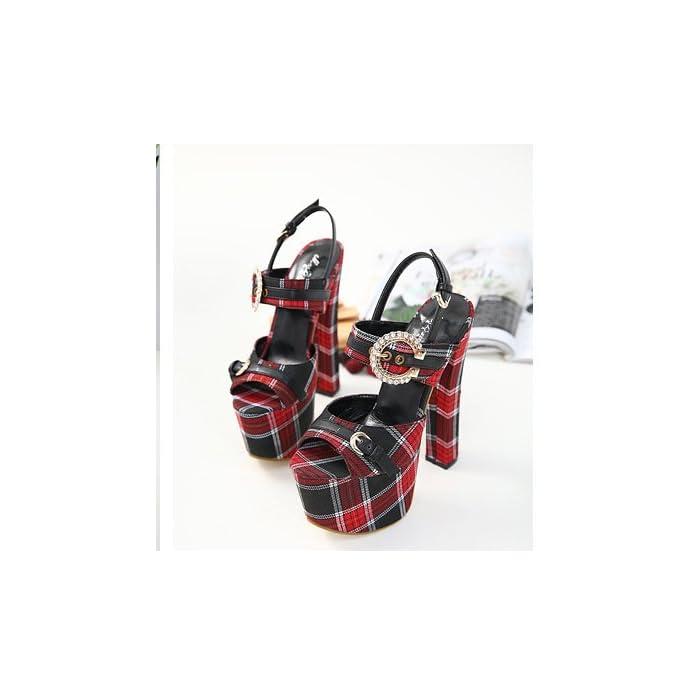 Zhudj Peep Toe Heels Super Bellezza Scarpe Con Ruvida Impermeabile Fibbia