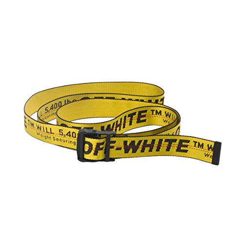Off White industrial belt for dress yellow red white black golden belt for women and men (Golden)