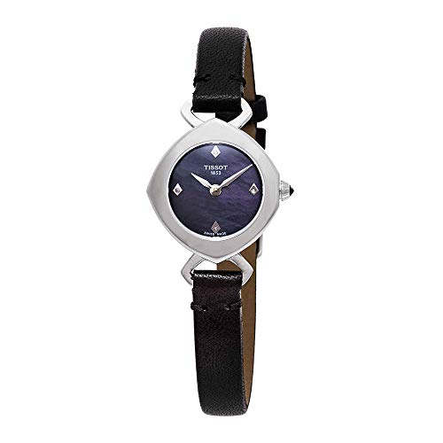 (Tissot Femini-T Mother of Pearl Dial Ladies Black Leather Watch T113.109.16.126.00 )
