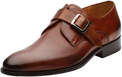 3DM Lifestyle Men's Single Monkstrap Modern Classic Dress Shoes US 9-9.5 Cognac