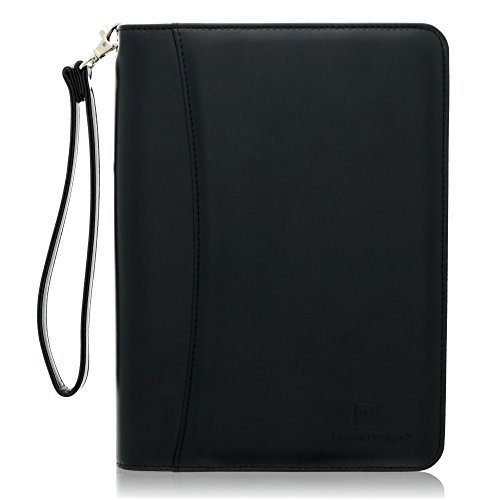 Junior Zippered Business Padfolio with Notepad - Black PU Leather Portfolio Binder & Organizer Folder with 8 Inch Tablet Sleeve by Lautus Designs (Padfolio Zippered Size Junior)