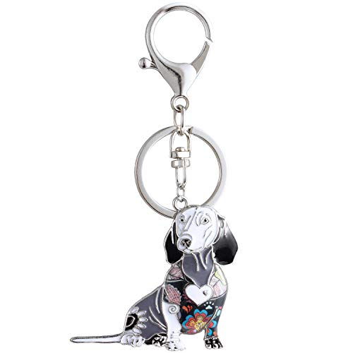 Luckeyui Black Enamel Dachshund Keychains for Women Dog Lover by Luckeyui