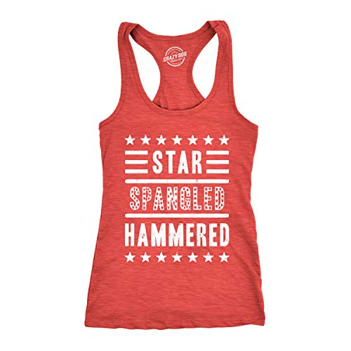 Womens Star Spangled Hammered Funny Workout Shirts Sleeveless Ladies Fitness Tank Top (Heather Red) - XXL