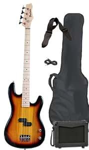 full size electric bass guitar starter beginner pack with amp case strap sunburst. Black Bedroom Furniture Sets. Home Design Ideas