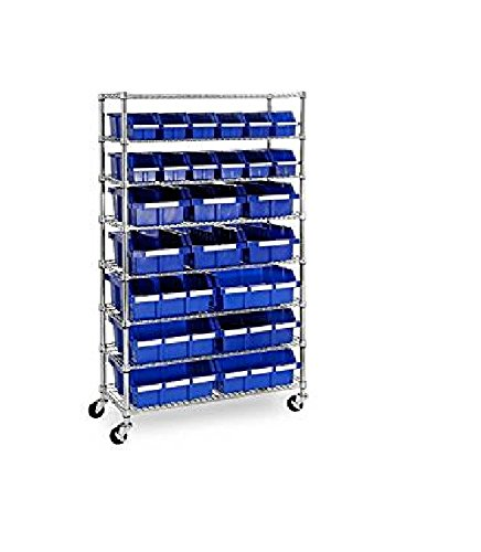 Storage Rack by Member's Mark Features 24 Durable Bins, 3-Inch Wheels and Zinc-Plated Steel Construction,Perfect for Efficient Organization