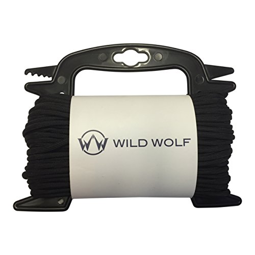 (100 Feet of Black Paracord by Wild Wolf Pack On Winder for Tangle-Free 550 Lb Parachute Survival Craft Cord )