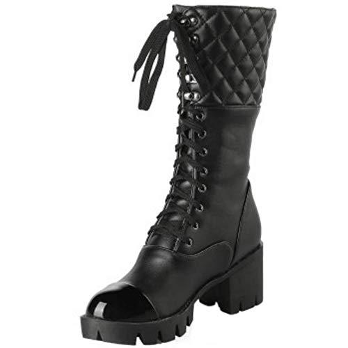 Stringate Boots RAZAMAZA Piattaforma Nero Donne Martin 46zIq