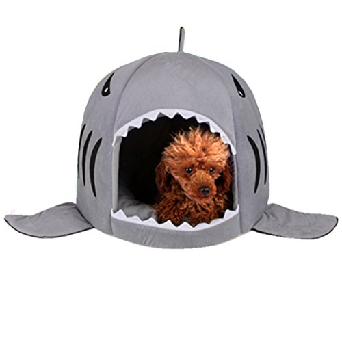 xie Shark Pet House Washable Bed for Cat Dog Cave Bed Removable Cushion,waterproof Bottom Most Lovely Pet House Gift for Pet (L, grey1)