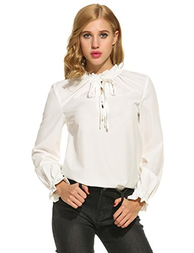 Girls Puff Sleeve Top (Zeagoo Women's Lace-up Collar Lotus Ruffle Shirts Puff Sleeves Chiffon Blouse)