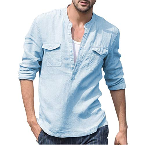 XQXCL Men's Baggy Cotton Linen Pocket Solid Long Sleeve Retro T Shirts Tops Blouse Blue