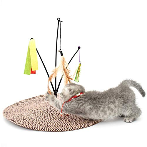 Zzyff Cat Scratch Board Creative Swing Cotton Rope Cat Scratch Pad Feathers Bed Sofa Funny Bell Ball Pet Paw Care Toy Cat Kitten Scratcher Durable ()