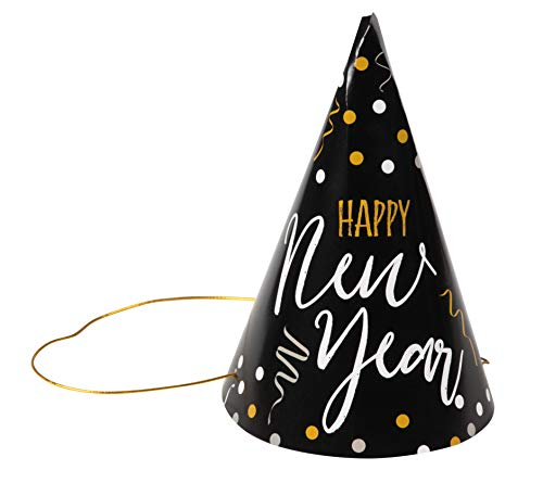 (New Years Eve Party Hats - 24-Pack Cone Shaped Paper Hats Holiday Supplies, Black with Confetti Design, Includes Gold Elastic String, Easy Assembly, For Kids and Adults, 4.6 x 7)