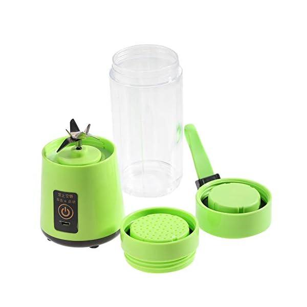 Zerone Portable Juicer, 350-400ML Frullatore estrattore di succo di frutta ricaricabile Plactic USB ricaricabile(verde) 5 spesavip