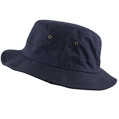 100% Cotton Canvas Packable Summer Travel Bucket Hat (S/M, Navy) ()